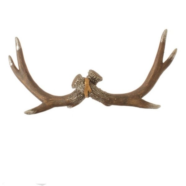 "16"" Urban Nature Regal Reindeer Antler Silver Glitter Mantle and Table Top Decoration - brown"
