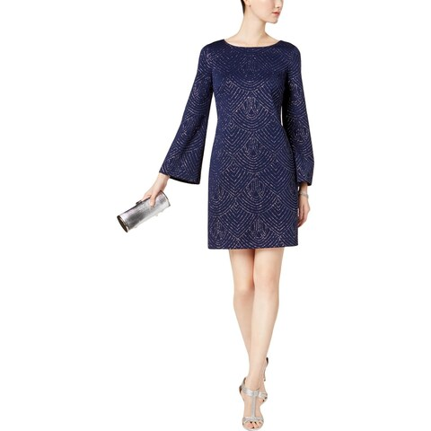 Jessica Howard Womens Casual Dress Bell Sleeve Glitter