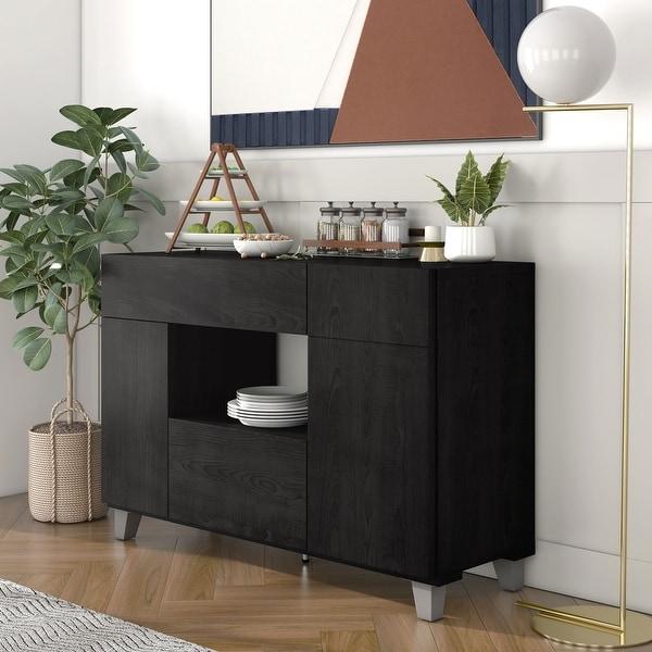 Furniture of America Ilti Contemporary Black 47-inch Buffet Server