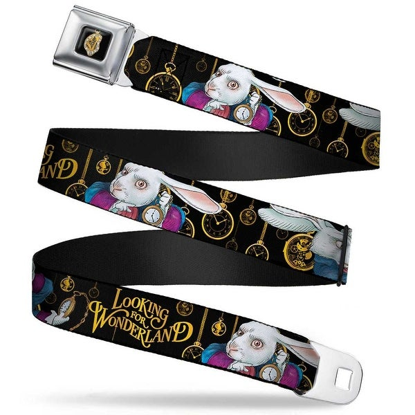 Alice In Wonderland Clock Full Color Black Gold White Rabbit Poses Looking Seatbelt Belt