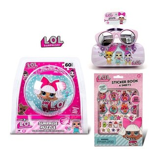 LOL Surprise Puzzle In a Ball and Sunglasses with Case and Sticker Book with Puffy Stickers (3 Items)