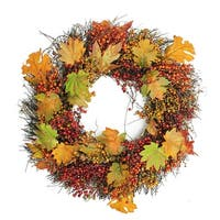 Autumn Harvest Maple Leaf & Berry Artificial Thanksgiving - 22-Inch, Unlit - Orange