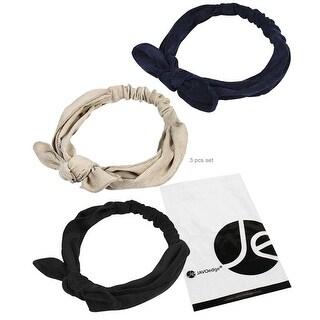 JAVOedge Corduroy Tie on Top 3 Pack Korean Style Headbands (Cream, Blue, Black) - cream / blue / black