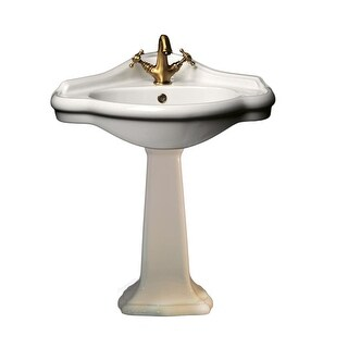"WS Bath Collections Contea 60P - 0603501+0604001 Contea 23-1/5"" Pedestal Corner Sink with Overflow - 1 faucet hole - n/a"