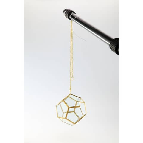 """6"""" Clear and Gold Colored Terrarium Hanging Glass Planter"""