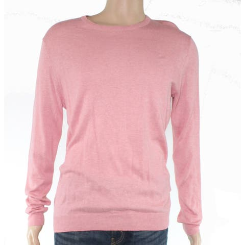 Tasso Elba Mens Sweater Pink Size Small S Crewneck Ribbed Trim Solid