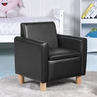 Gymax Single Kids Sofa Armrest Chair Wood Construction w Storage Box Living Room Black