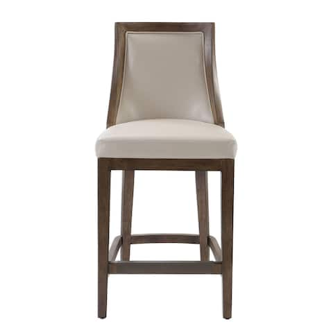 """Uttermost 23501 Purcell 19"""" Wide Leather Counter Stool with Rubberwood Frame and Kick Plate - Cappuccino Pebbled Leather"""