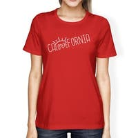 Calovefornia Womens Red T-Shirt Crew Neck Cotton Graphic Tee Shirt