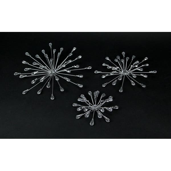 Set Of 3 Silver Teardrop Starburst Rhinestone Jeweled Metal Wall Hanging Art Decorative Crystal Home Decor On Sale Overstock 31702595