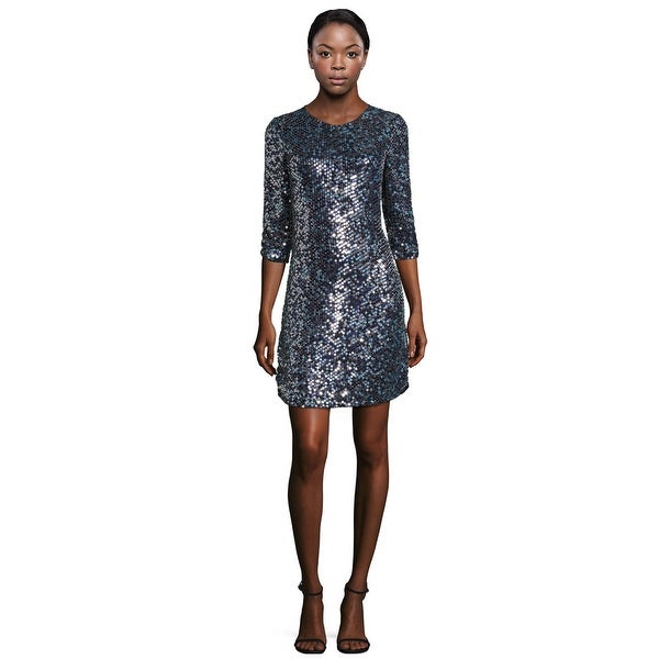 c534d29fc292 Parker Black Petra Sequined Silk 3/4 Sleeve Cocktail Dress Aquarius