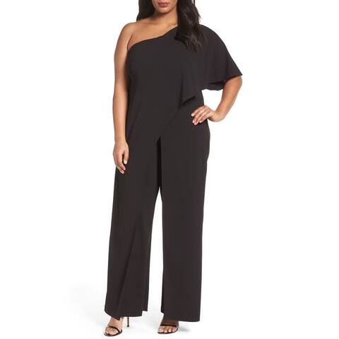 Adrianna Papell Womens Jumpsuit Black Size 18W Plus One-Shoulder
