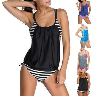 Women Summer Beach Stripes Tankini Swimwear  Bathing Suit Two-Piece Swimsuit