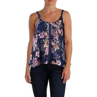 PPLA Womens Juniors Casual Top Swing Floral Print