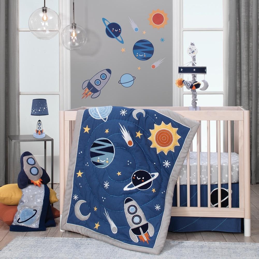 Blue Lambs /& Ivy Jensen 4-Piece Crib Bedding Set Modern Gray