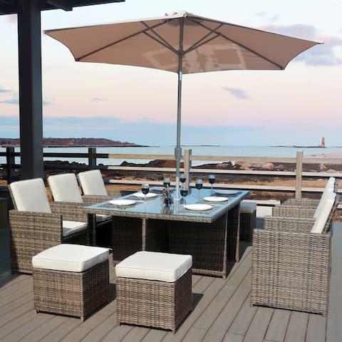 Martinka Wicker 11 pieces Outdoor Patio Dining Set