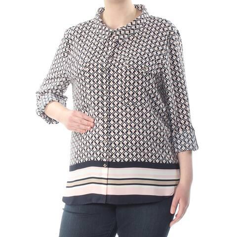 TOMMY HILFIGER Womens Pink Printed Contrast Hem 3/4 Sleeve Top Plus Size: XXL