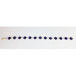 Mcs Jewelry Inc 14 KARAT YELLOW GOLD BLUE EVIL EYE BRACELET (7.5 INCHES)