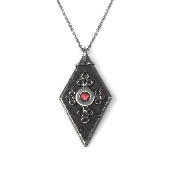 Loralyn Designs Medieval Black Iron Diamond Pendant Stainless Steel Necklace Chain as Seen on The Vampire Diaries