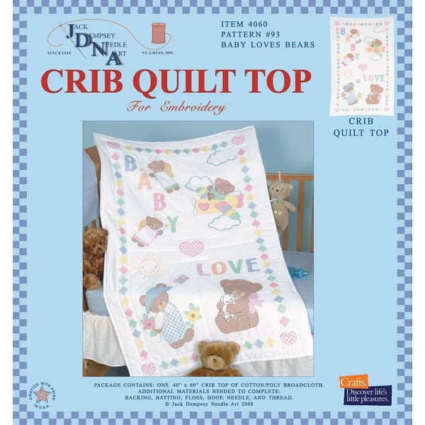 "Stamped White Quilt Crib Top 40""X60""-Baby Love Bears"