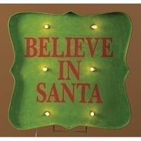 "31"" Lighted ""Believe in Santa"" Christmas sign Outdoor Decoration - green"