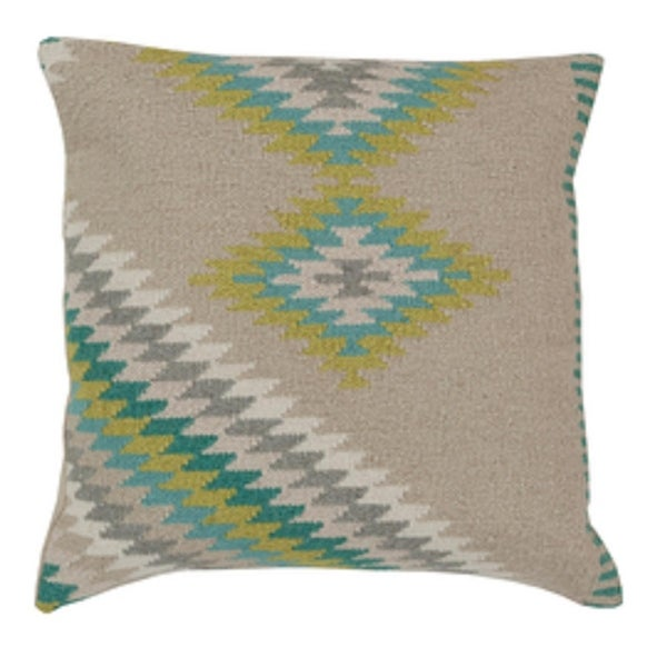 "20"" Soothing Gray and Lime Green Decorative Throw Pillow - Down Filler"