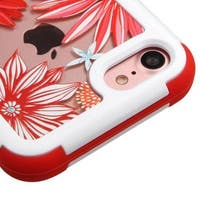 Insten Red/ White Spring Daisies Hard PC/ Silicone Dual Layer Hybrid Rubberized Matte Case Cover For Apple iPhone 7