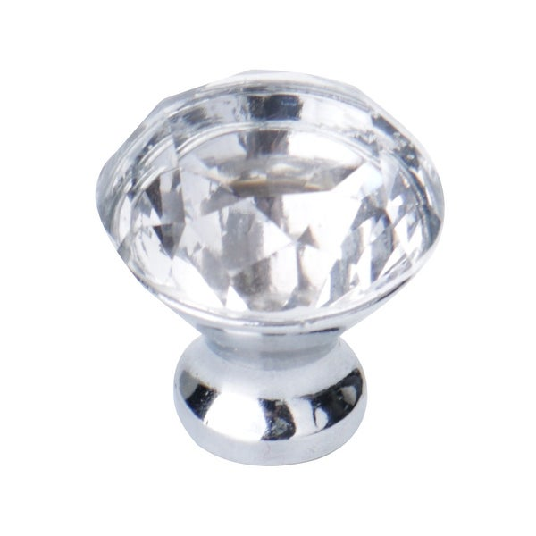 30mm Dia Crystal Knobs Round Shape Knob Drawer Pull Handle Cabinet Cupboard Wardrobe Dresser Decoration Clear - 1pcs