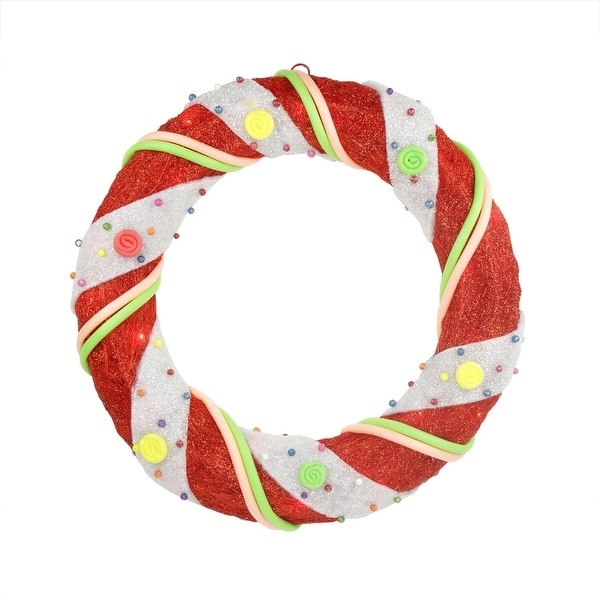 """18"""" Pre-Lit Red and White Candy Cane Stripe Sisal Artificial Christmas Wreath - Clear Lights"""