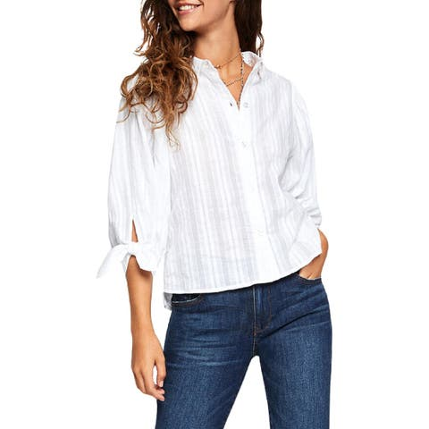 BCBGeneration Womens Blouse Striped Tie Sleeve
