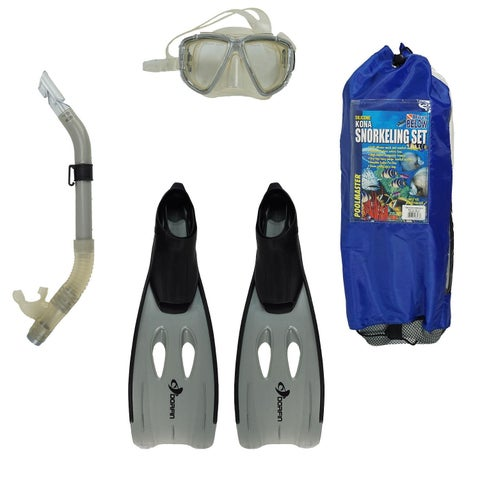 Gray Kona Adult Pro Silicone Water or Swimming Pool Scuba or Snorkeling Set - Medium