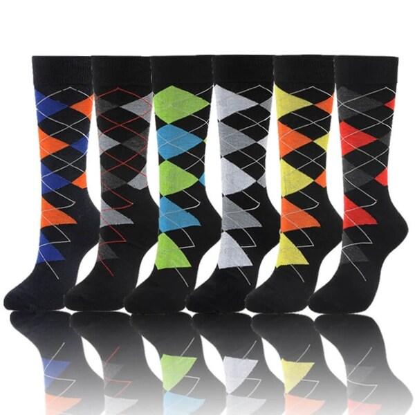 Argyle Mens Cotton Designer Casual Socks (Size 10-13)
