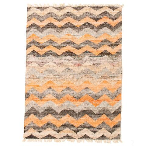 ECARPETGALLERY Flat-weave Old Style Light Orange Wool Kilim - 4'0 x 5'7