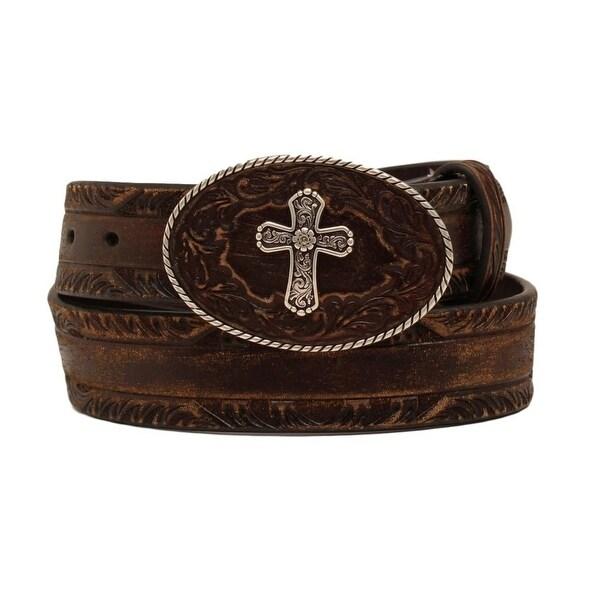 Nocona Western Belt Womens Leather Pierced Cross Buckle Brown