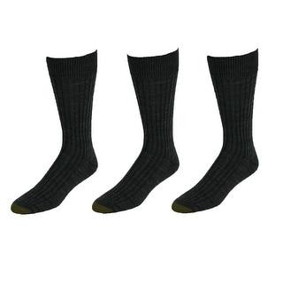 Gold Toe Men's Windsor Wool Socks (Pack of 3), Shoe Size 6 - 12 1/2 - Black - One Size