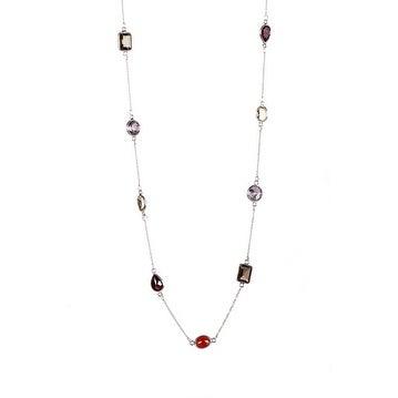 Sterling Silver Multi Gemstone Station Necklaces