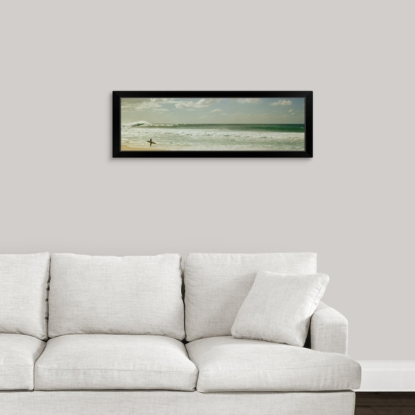 """""""Surfer standing on the beach, North Shore, Oahu, Hawaii,"""" Black Framed Print"""