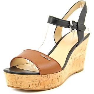 Coach Fran Mat Calf   Open Toe Leather  Wedge Sandal