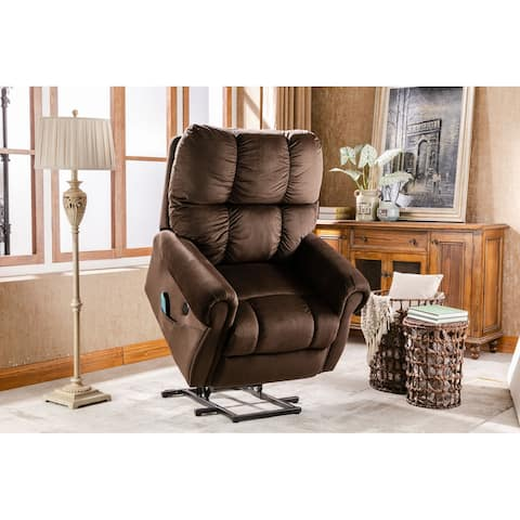 Velvet Electric Lift Recliner with Heat Therapy and Massage,Chocolate