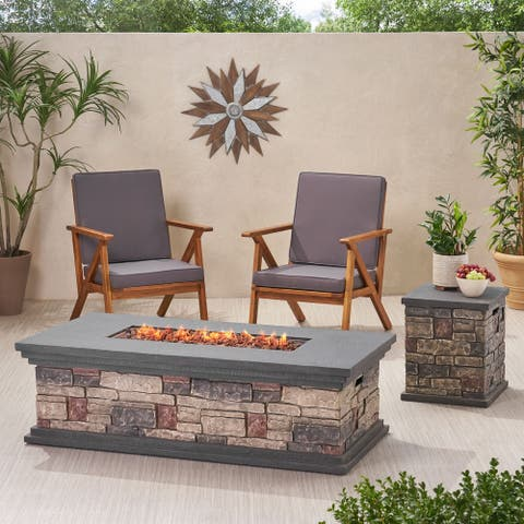 "Chesney Outdoor 56"" Rectangular 50,000 BTU Light Weight Concrete Fire Pit by Christopher Knight Home"