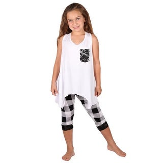Lori&Jane Girls Black White Pocket Tank Plaid Leggings Set