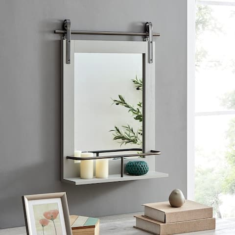 FirsTime & Co.® Ingram Farmhouse Barn Door Mirror With Shelf, American Crafted, Rustic Wood, Metal, 20 x 5 x 25 in