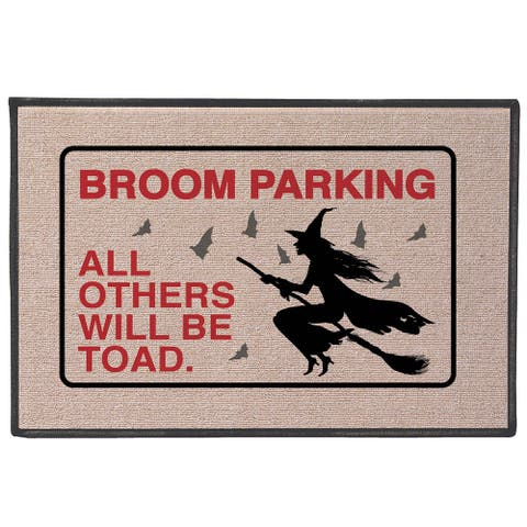 "Broom Parking Others Will Be Toad Doormat - Funny Witch Welcome Mat - 27"" x 18"" - Multicolor"