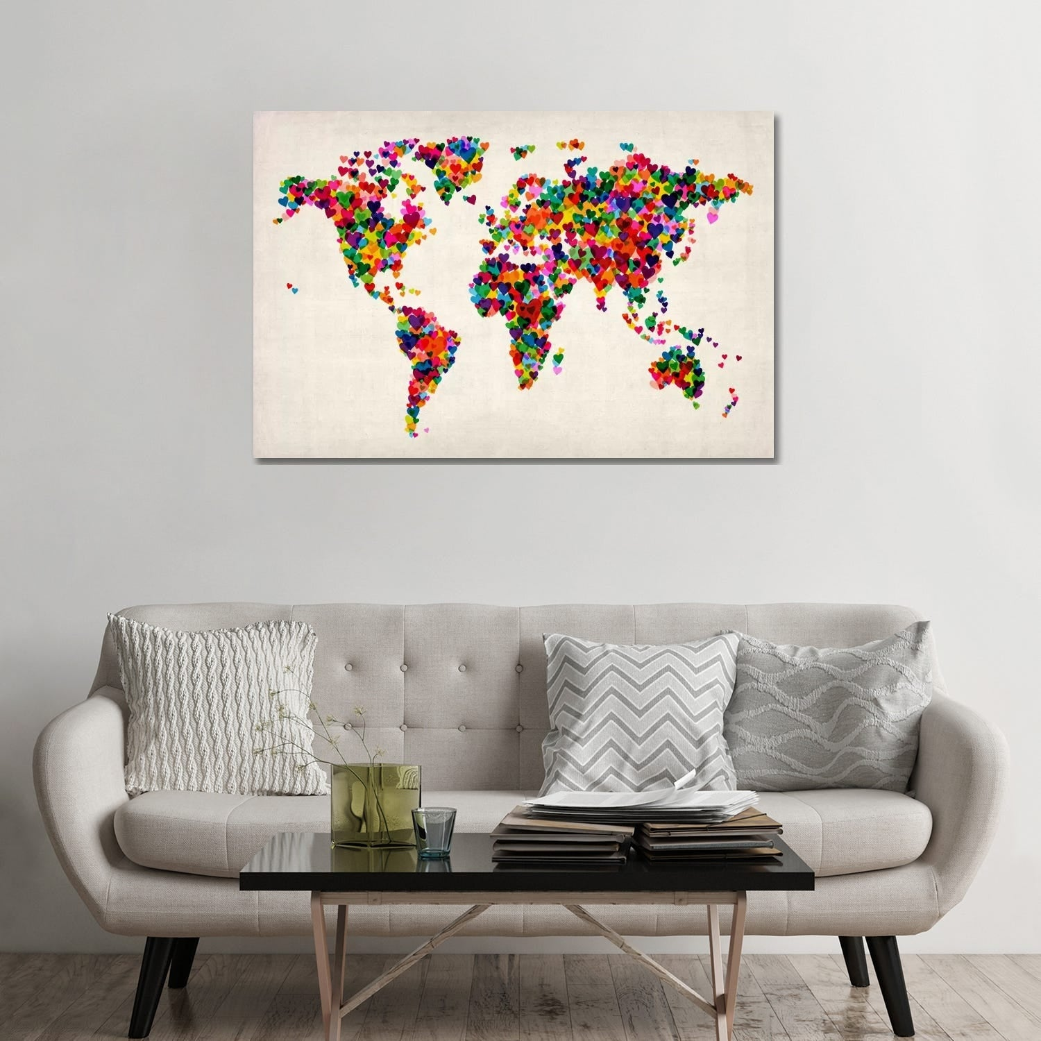 Icanvas World Map Hearts Multicolor Ii By Michael Tompsett Canvas Print Overstock 9624028