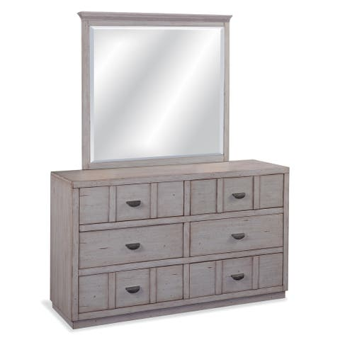 Parker Driftwood 6-Drawer Double Dresser with Mirror