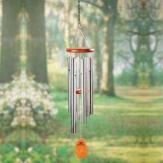 "Bamboo Wood & Aluminum Wind Chimes - Tuned to Amazing Grace - 25"" Long"