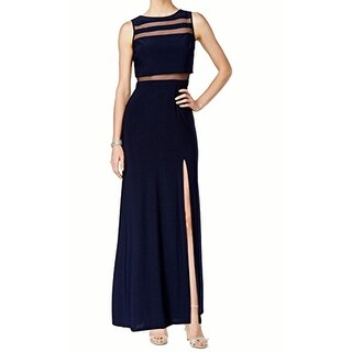 Nightway Front-Slit Black Illusion Gown, Navy, 8