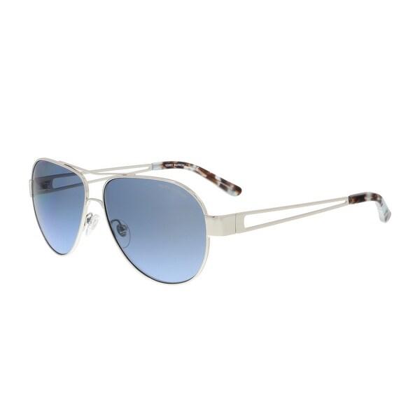 138066620a05 Shop Tory Burch TY6060 31618F Silver Aviator Sunglasses - 55-12-140 ...