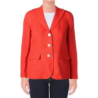 Lauren Ralph Lauren Womens Petites Three-Button Blazer Linen Long Sleeves - 4P https://ak1.ostkcdn.com/images/products/is/images/direct/09084dbdc5d0d1828b136feeeda012a85a078ade/Lauren-Ralph-Lauren-Womens-Petites-Three-Button-Blazer-Linen-Long-Sleeves.jpg?impolicy=medium