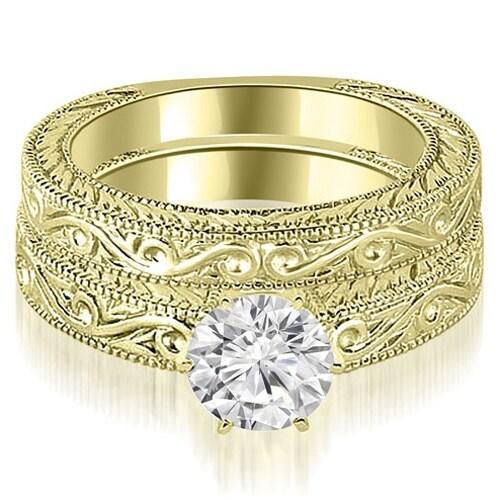 0.75 cttw. 14K Yellow Gold Antique Round Cut Diamond Bridal Set